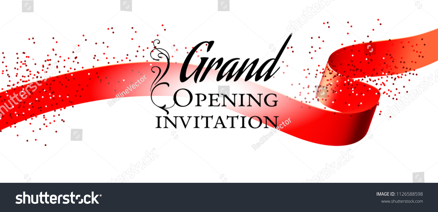 Grand Opening White Invitation Card Design Stock Vector Royalty