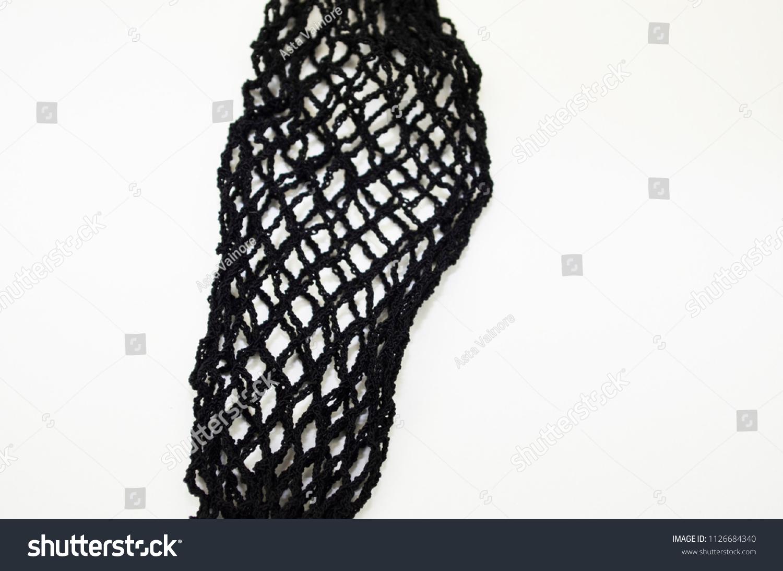 Female Fashion Womens Black Fishnet Stockings Isolated Stock Photo