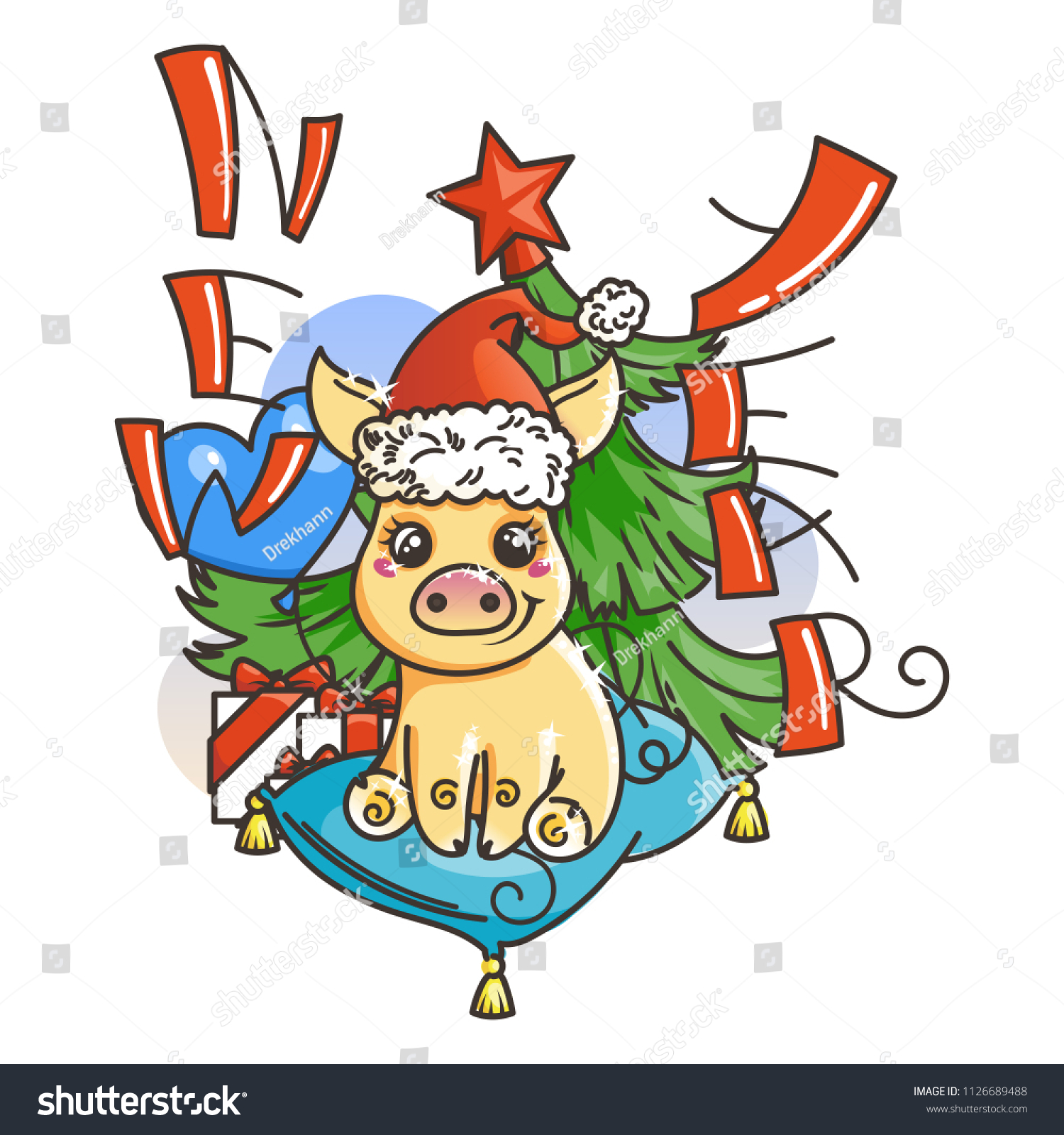 happy new 2019 year card with cartoon golden baby pig small vector symbol of holiday