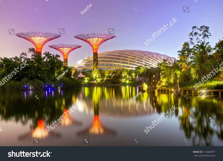 Singapore Sept Night View Supertree Stock Photo