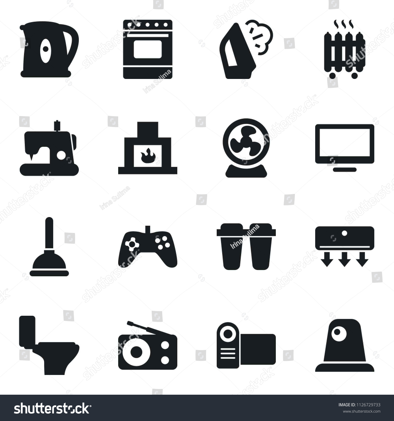 Set Simple Vector Isolated Icons Plunger Stock Vector Royalty Free
