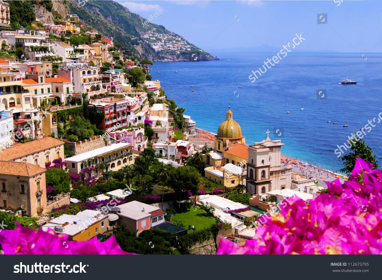 View town positano flowers amalfi coast stock photo for Amalfi to positano