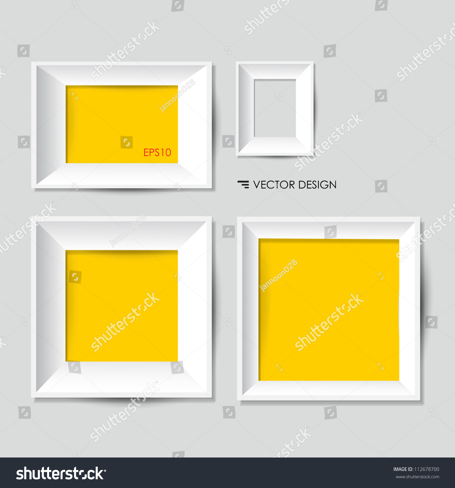 white modern frames on wall vector lagervektor   - white modern frames on the wall vector illustration