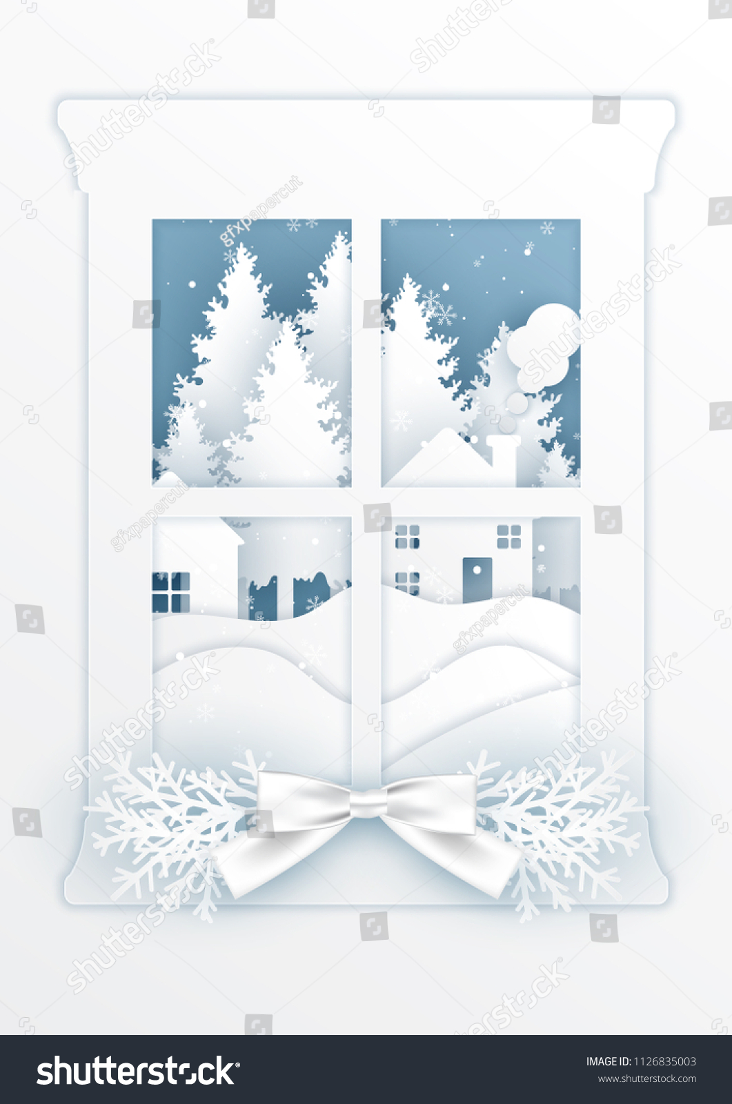 Christmas Card Window Outside Falling Snowpaper Stock Vector Royalty Free 1126835003