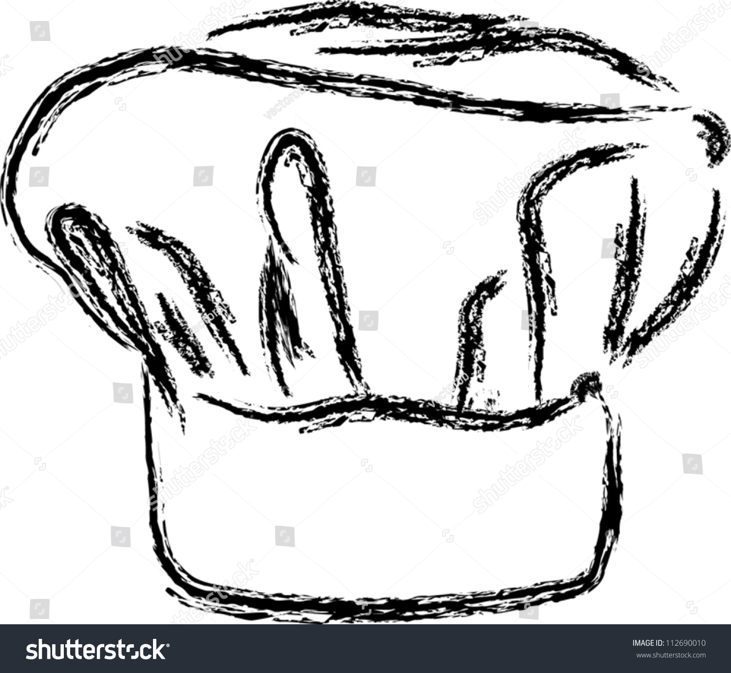 chef hat vector line drawing stock vector 112690010