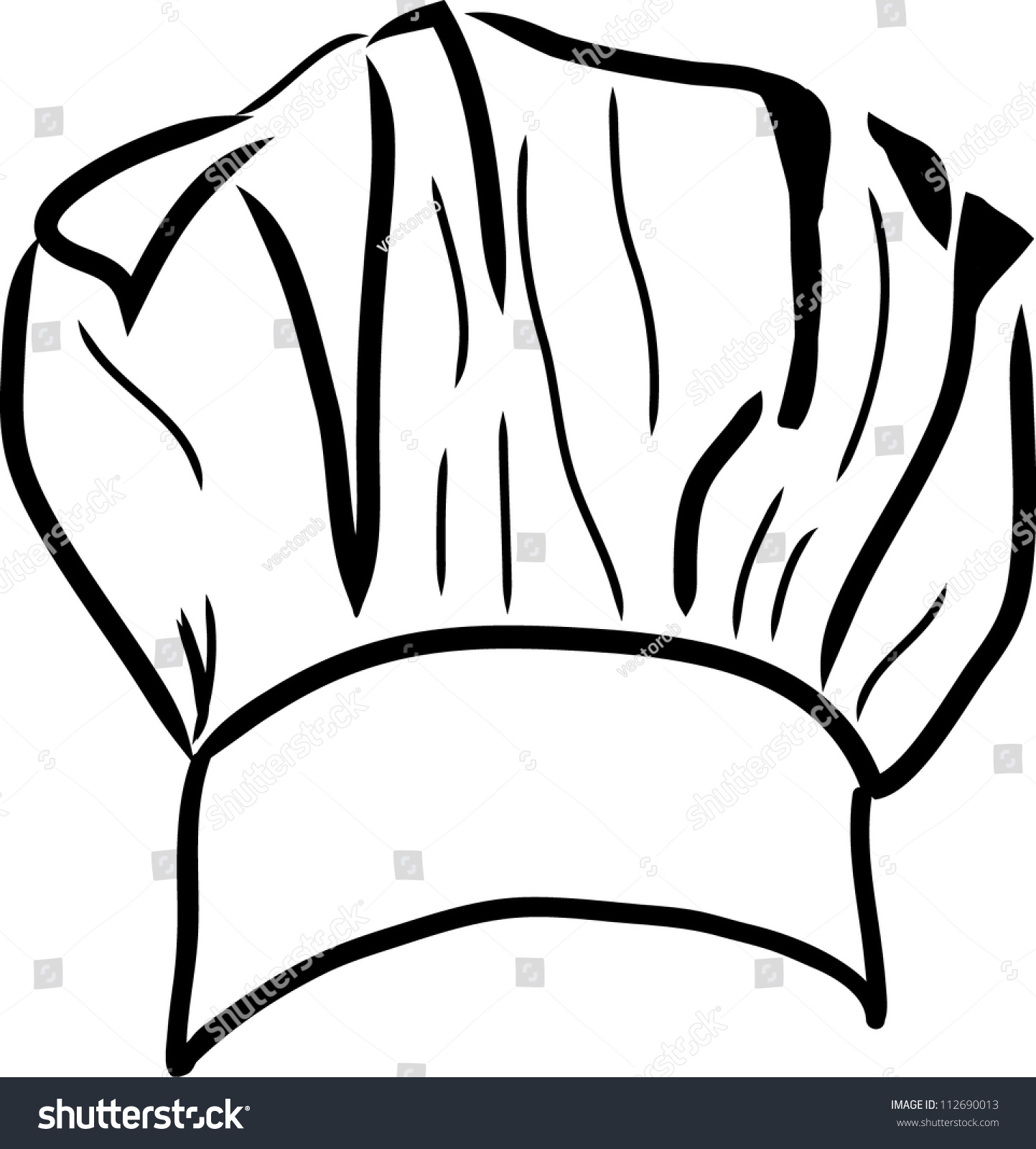 Chef Hat Vector Line Drawing 112690013 Shutterstock