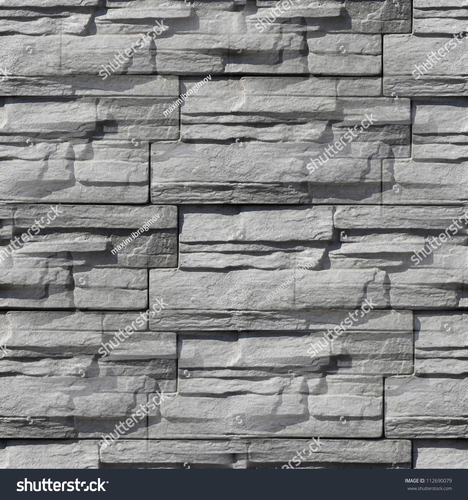 granite stone gray decorative brick wall stock photo
