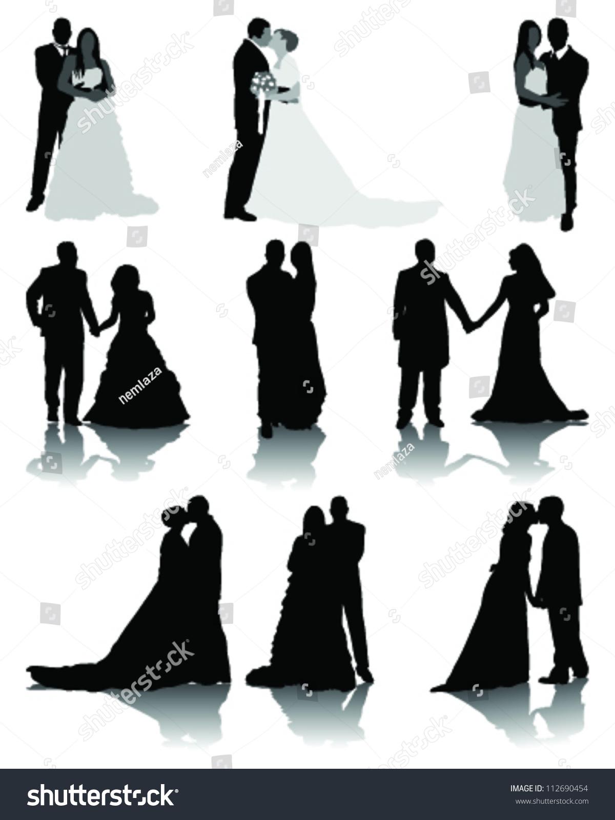 Wedding Silhouettesvector Stock Vector 112690454 ...
