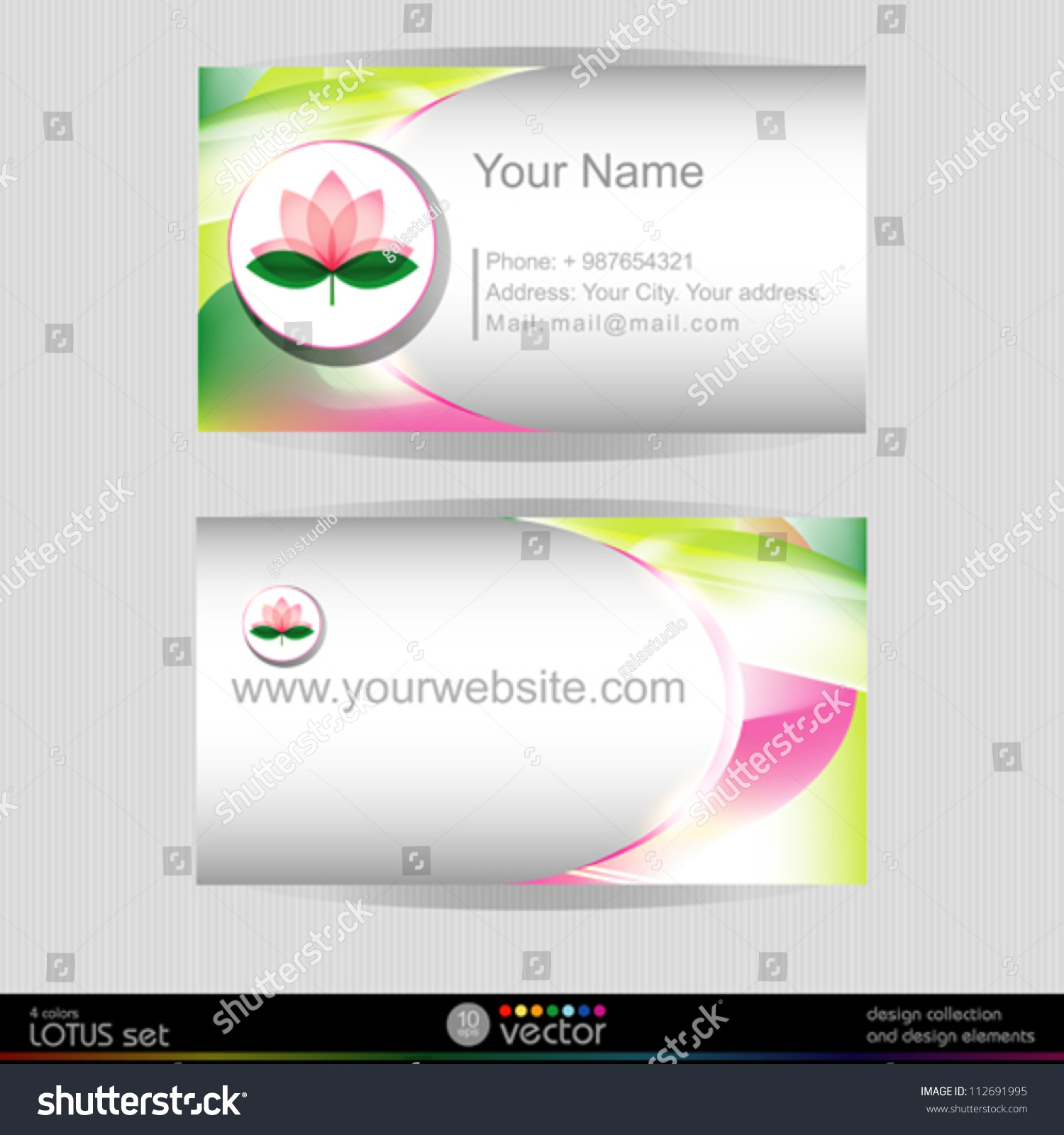 lotus blossom vector business card template stock vector