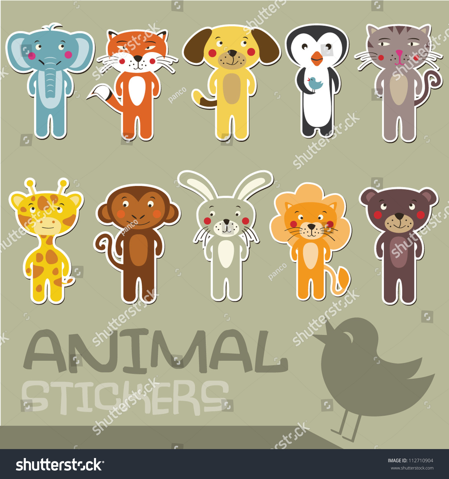 cartoon animal stickers in - photo #8