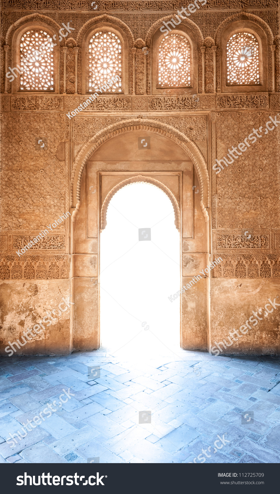 Sunshine through door granada palace sunlight stock photo for Sunlight windows