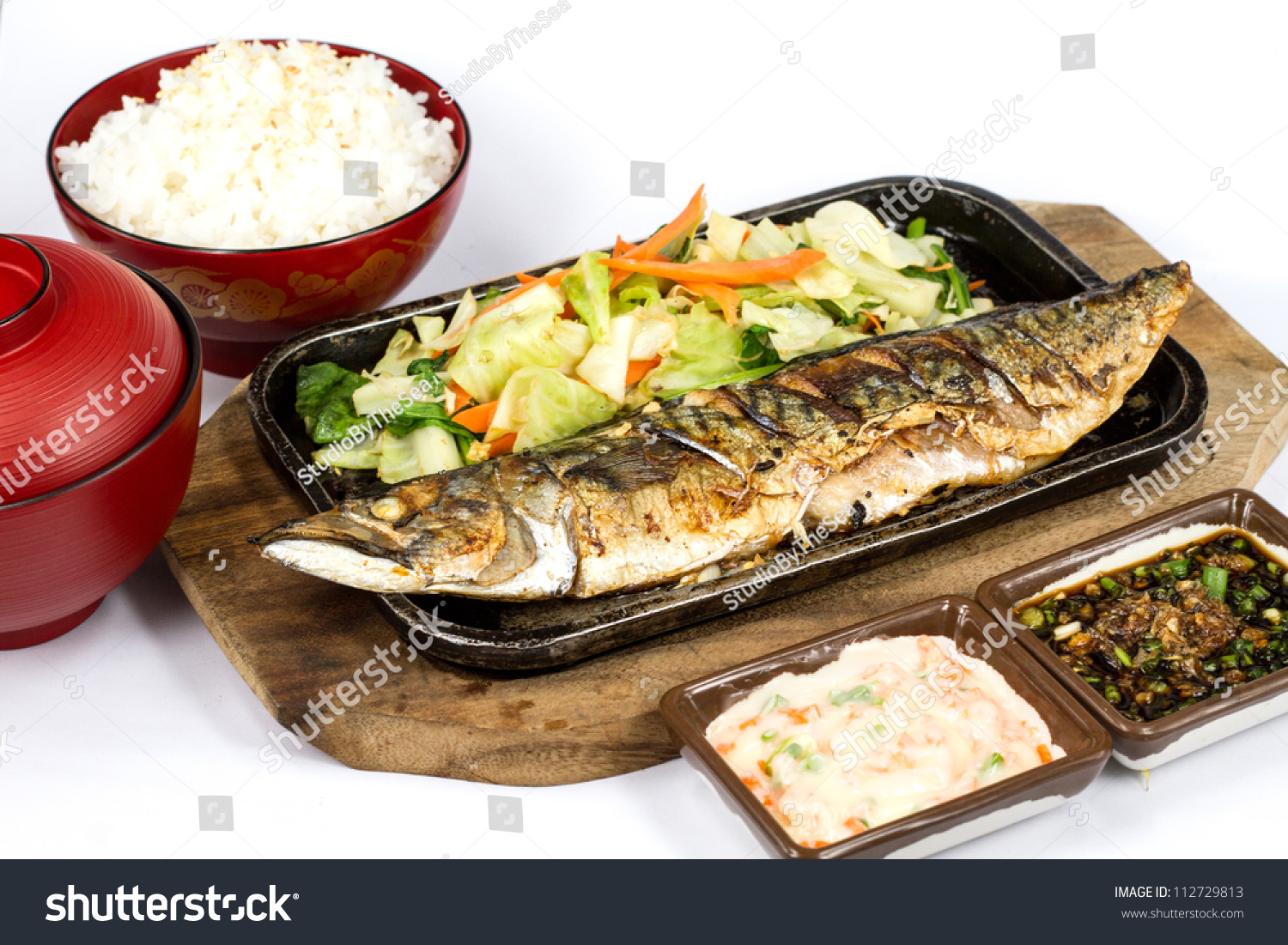 Japanese food style , Saba fish grilled set with rice on white ...
