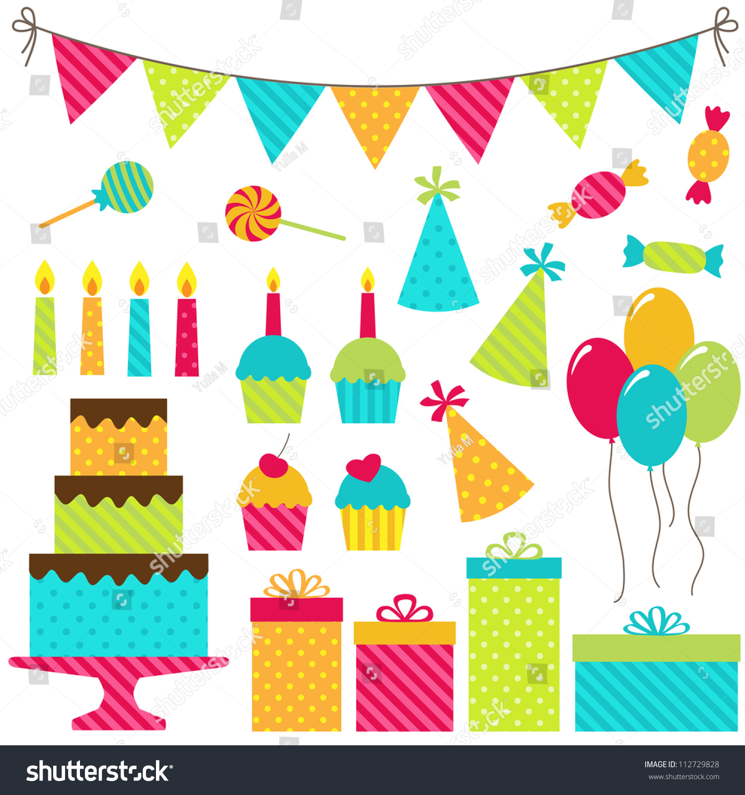 Set Vector Birthday Party Elements Stock Vector 112729828