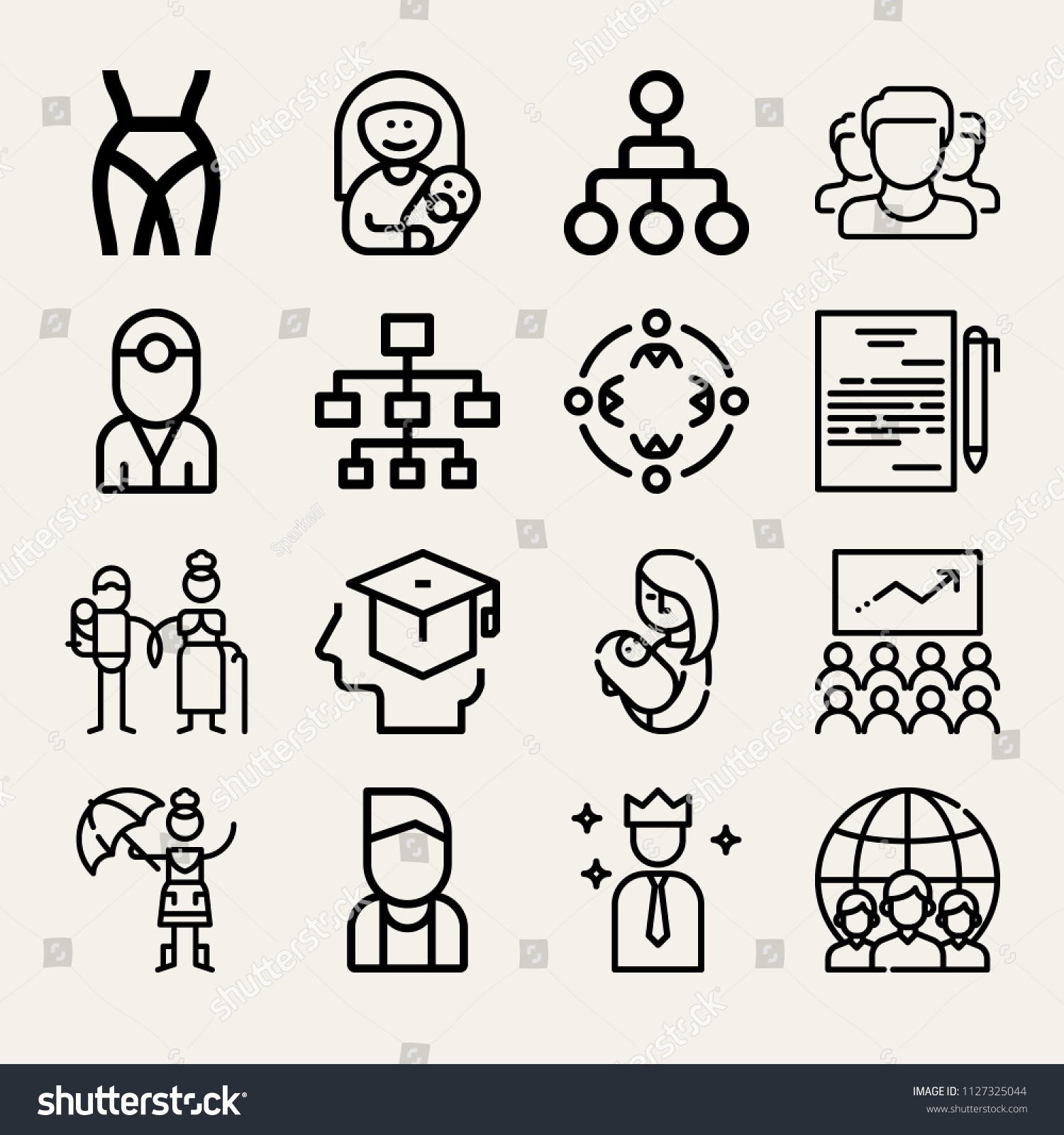 Set 16 People Outline Icons Such Stock Vector 1127325044 Shutterstock