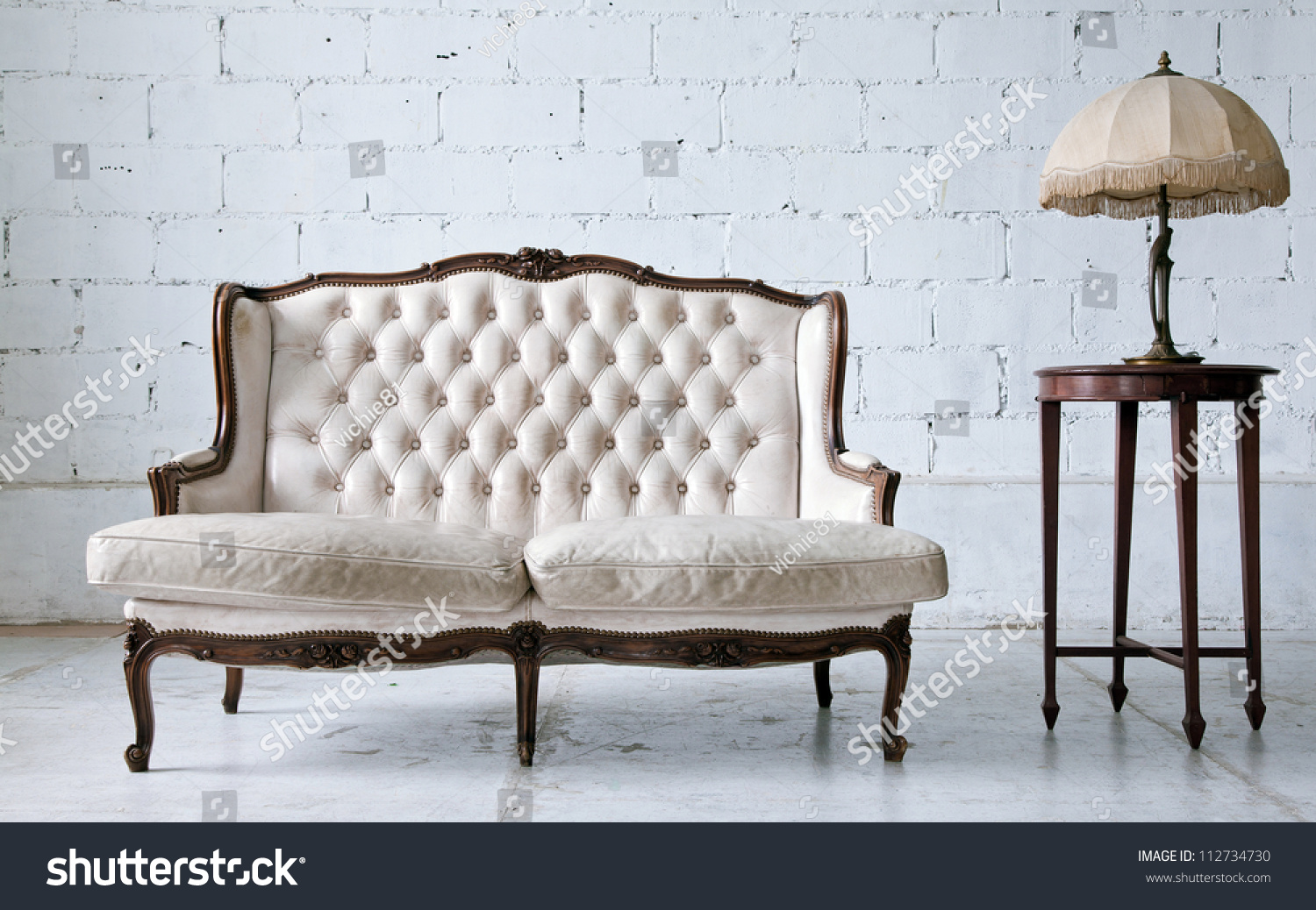 white vintage couch. White Vintage Couch. Genuine Leather Classical Style Sofa In Room With Desk Lamp Couch T