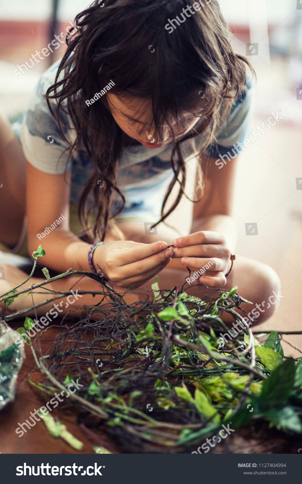 Girl Making Flower Crown Stock Photo Edit Now 1127404994