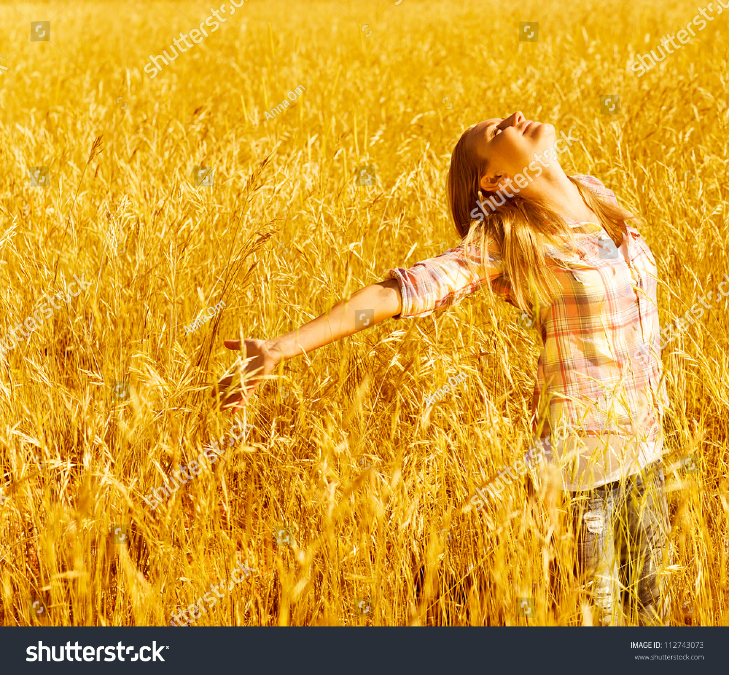 Picture cheerful teenager having fun countryside stock for Cheerful nature