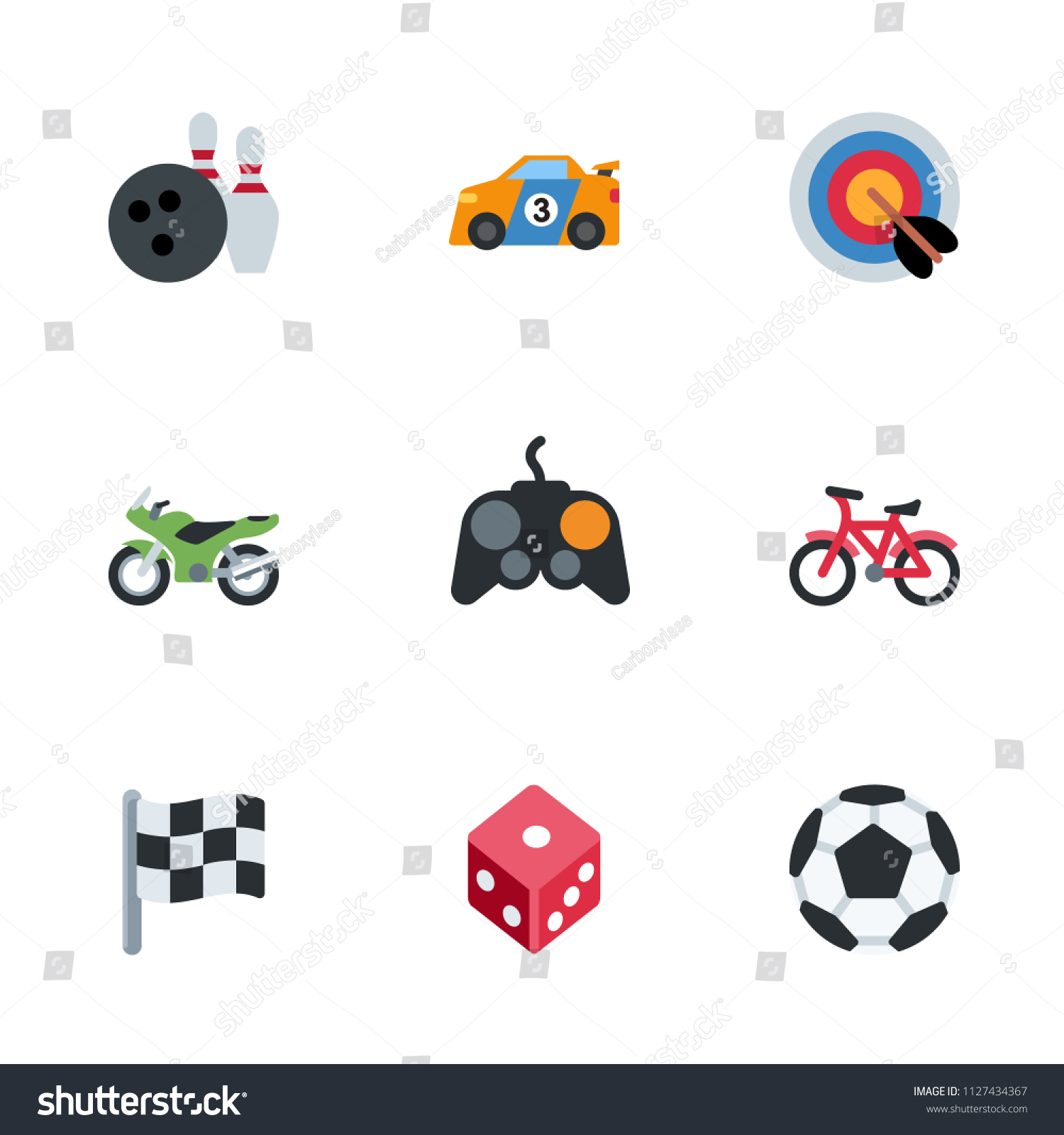 Computer Games Sport Activities Icons Set Stock Vector Hd Royalty