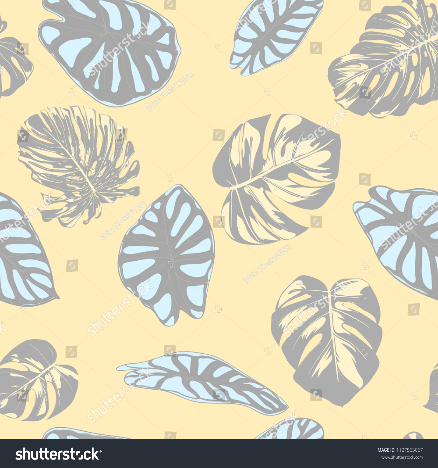 Seamless Vector Tropical Pattern In Pastel Color Design Monstera Palm