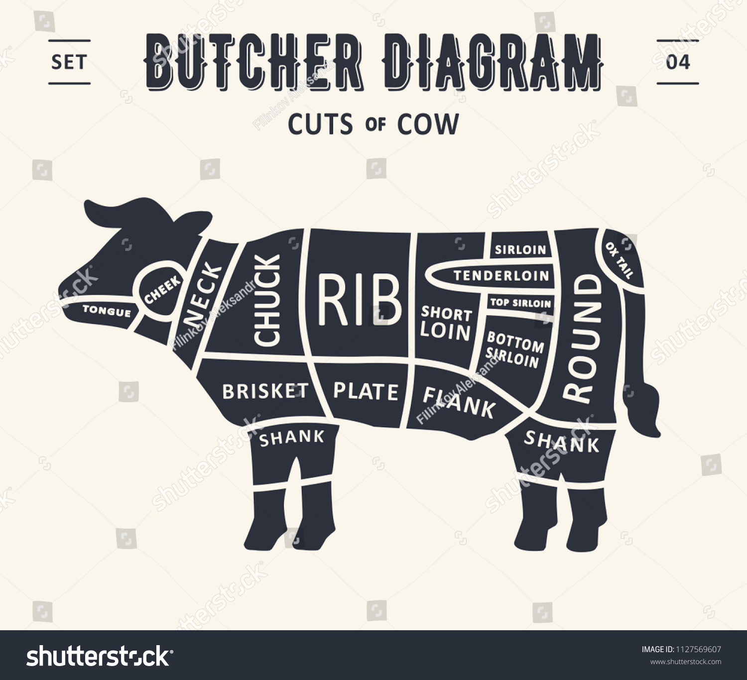 stock vector cut of meat set poster butcher diagram and scheme beef cow vintage typographic diagrams for 1127569607 cut meat set poster butcher diagram stock vector (royalty free