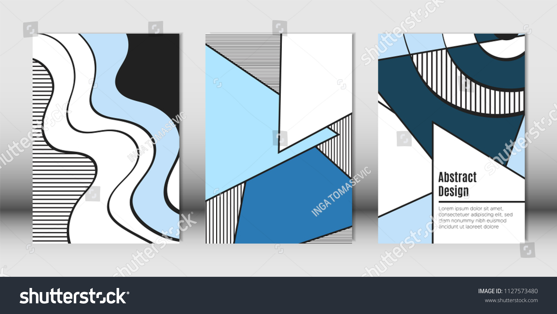 Picture of: Templates Set Bauhaus Geometric Elements Blue Lagervektor Royaltyfri 1127573480