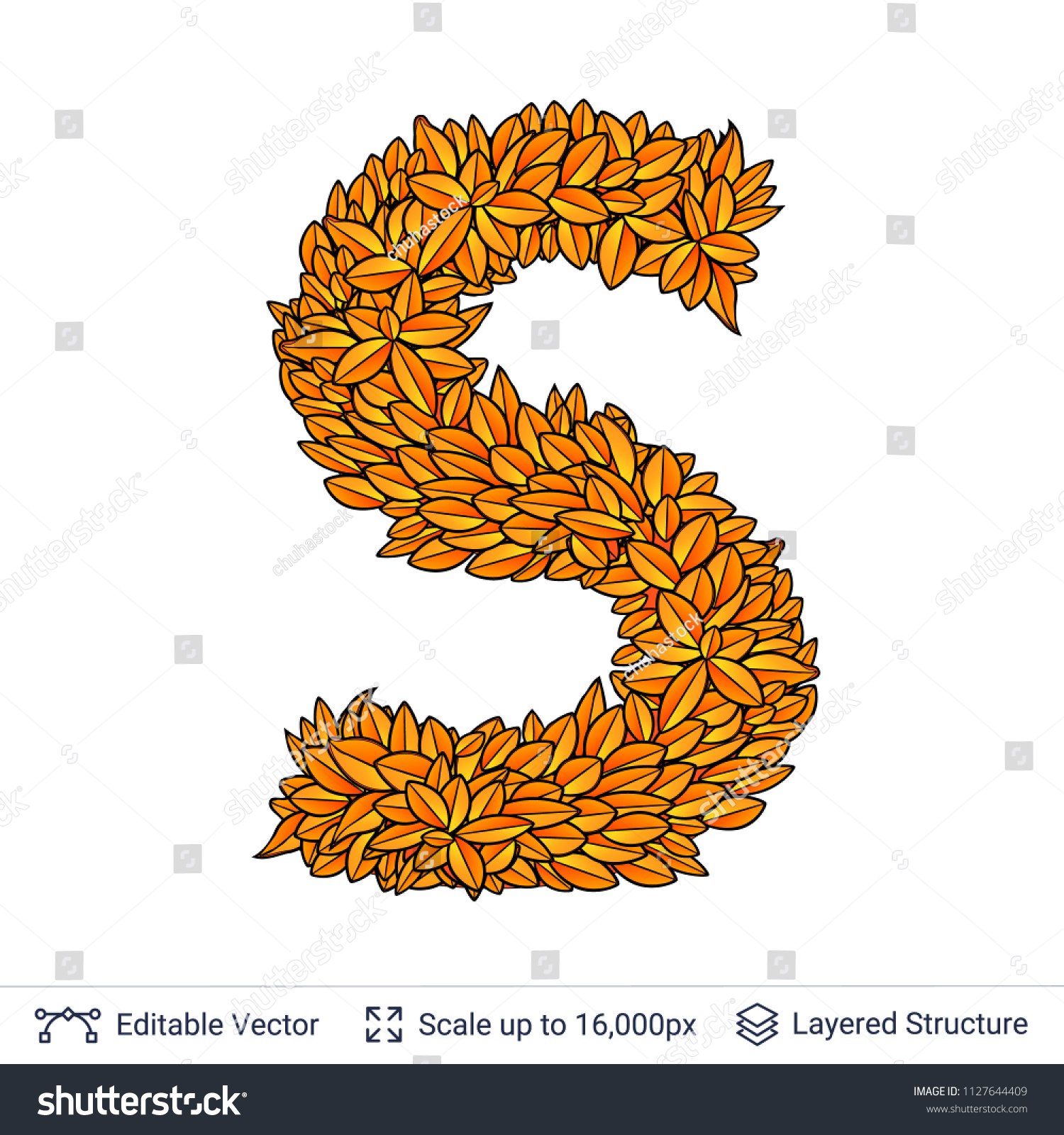 Letter S Sign Of Autumn Leaves Fall Bright Orange Leaves