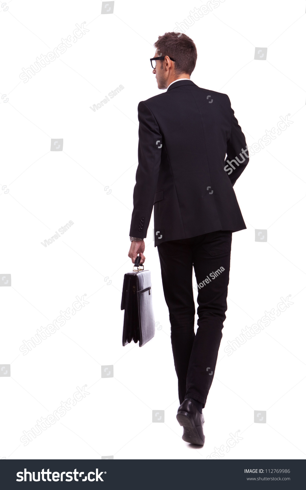 Back View Walking Business Man Holding Stock Photo ...