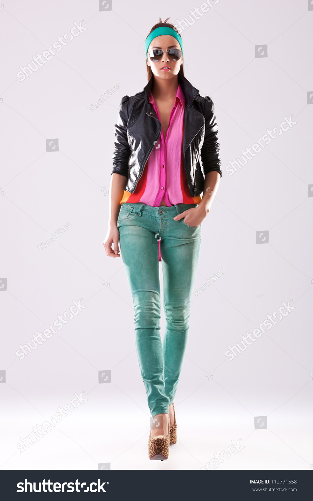 Young Woman High Heels Casual Clothes Stock Photo ...