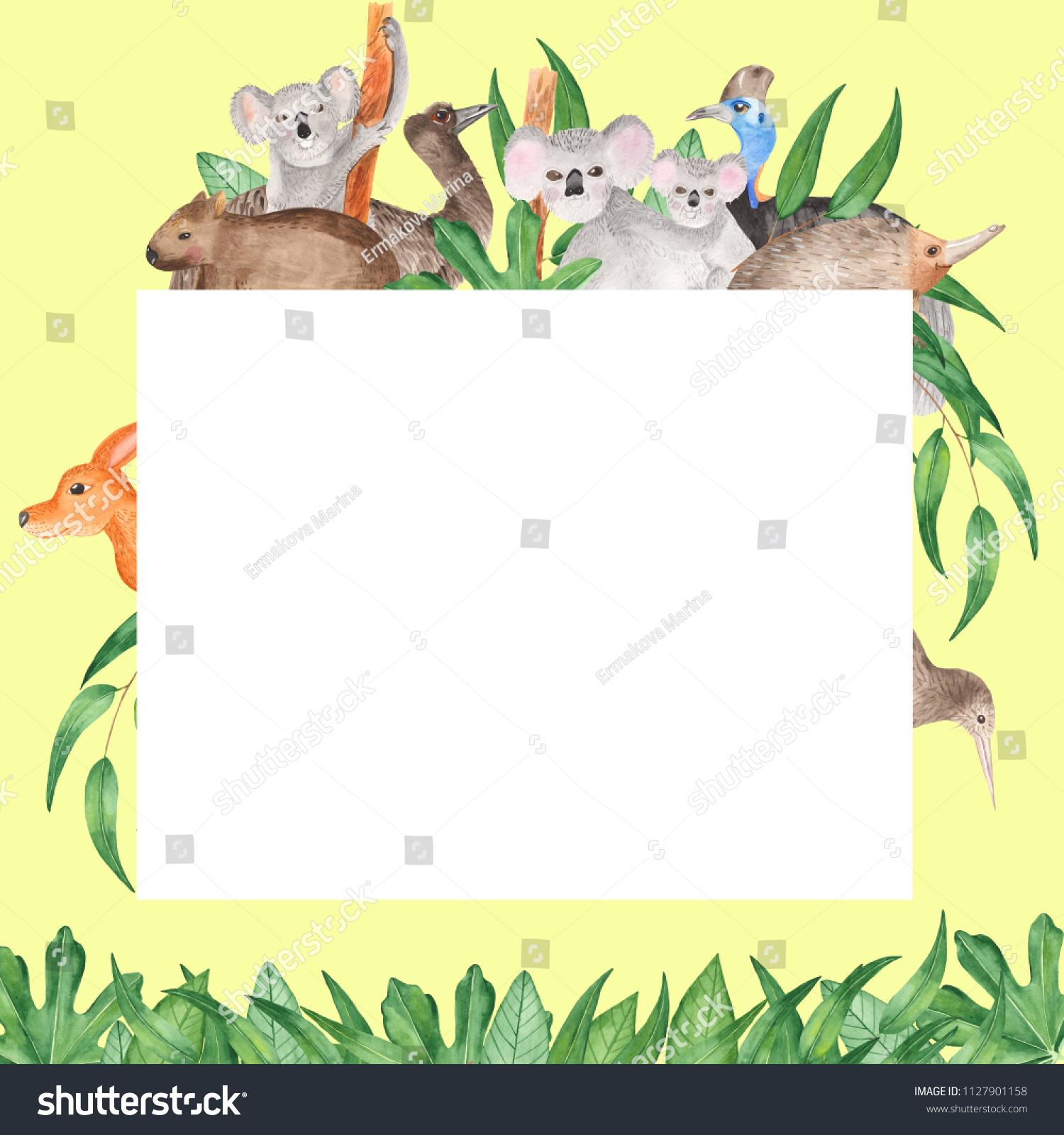 Watercolor Card Australian Animals Sweet Invitation Stock ...