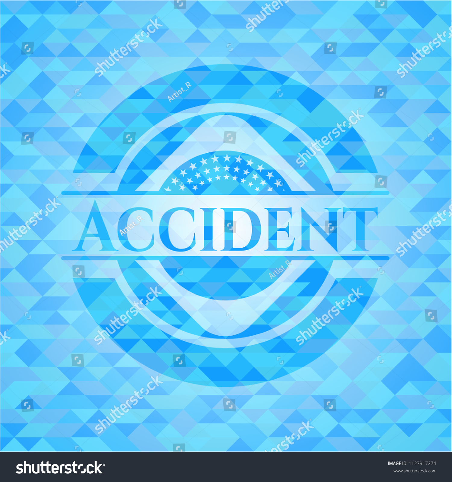 Accident Sky Blue Emblem Triangle Mosaic Stock Vector Hd Royalty