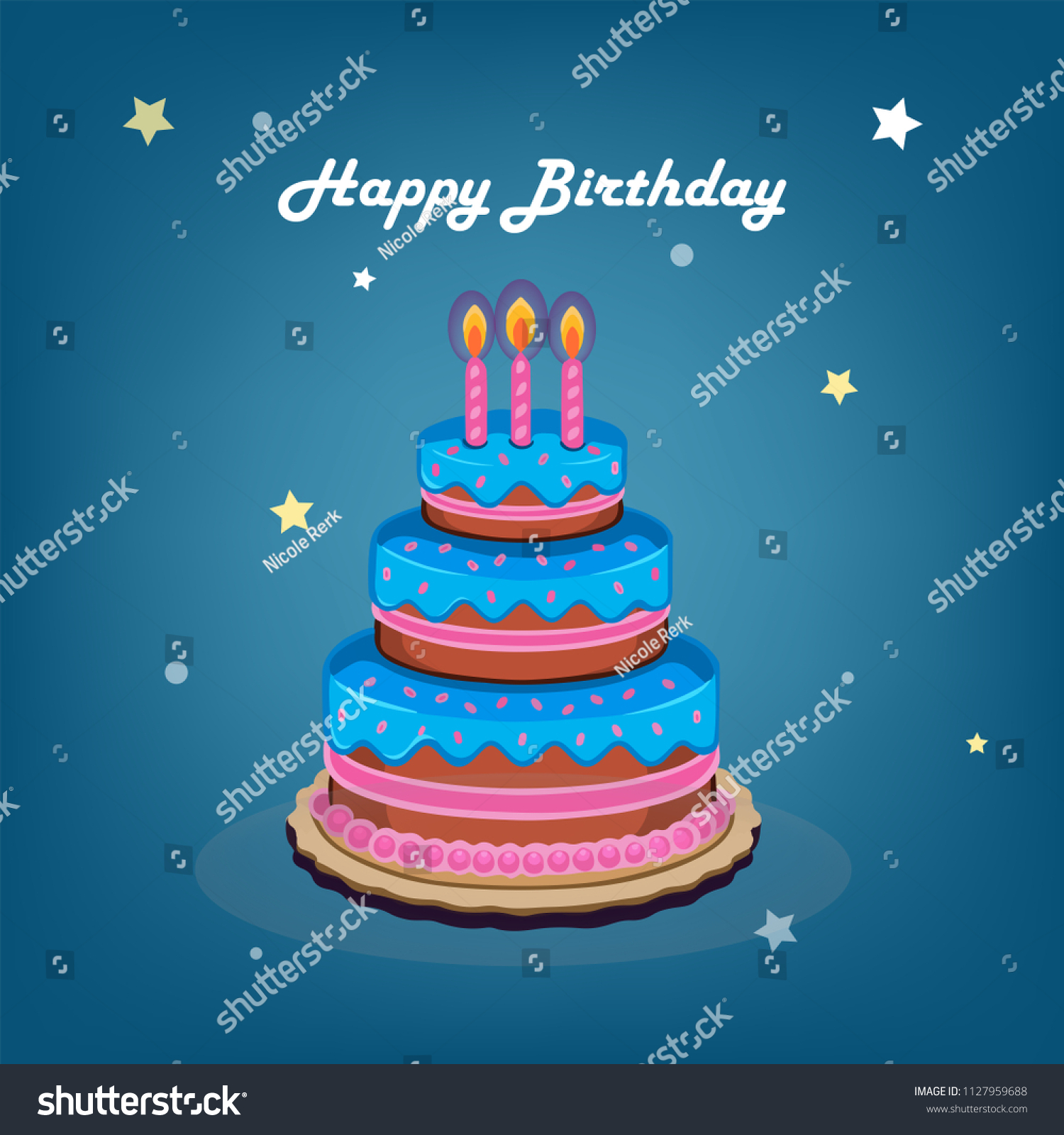 Brilliant Giant Birthday Cake Card Stock Vector Royalty Free 1127959688 Birthday Cards Printable Benkemecafe Filternl
