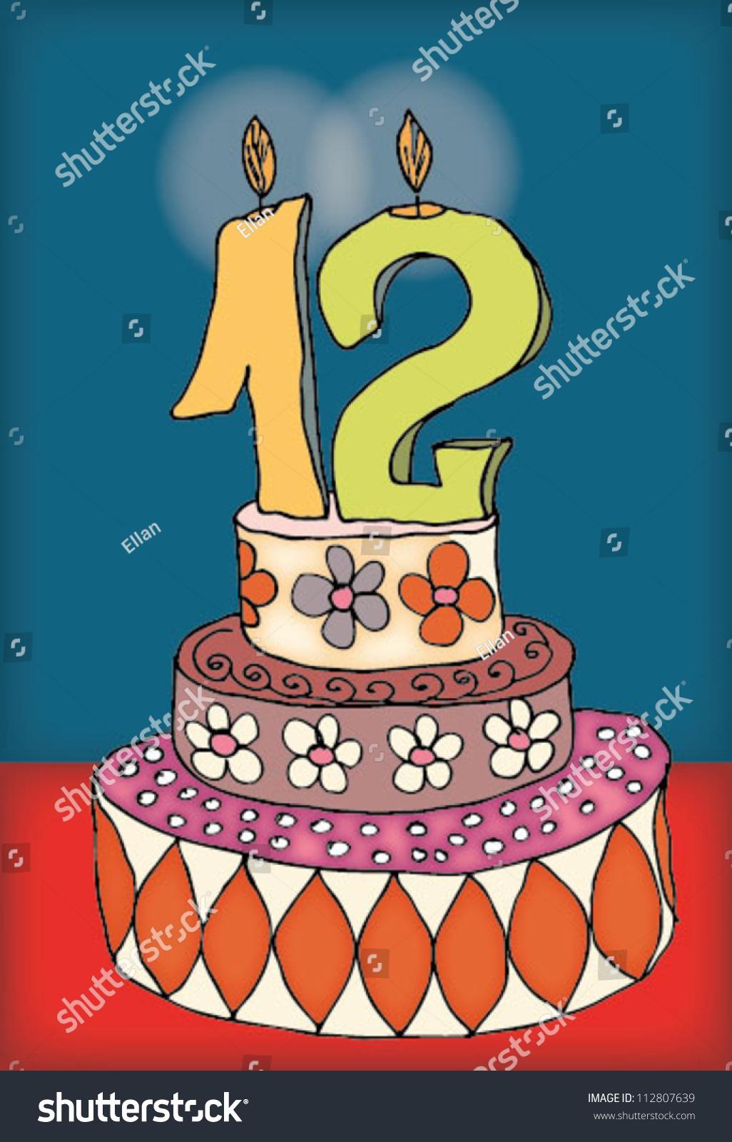 Happy Birthday Twelve 12 Year Fun Stock Vector Royalty Free