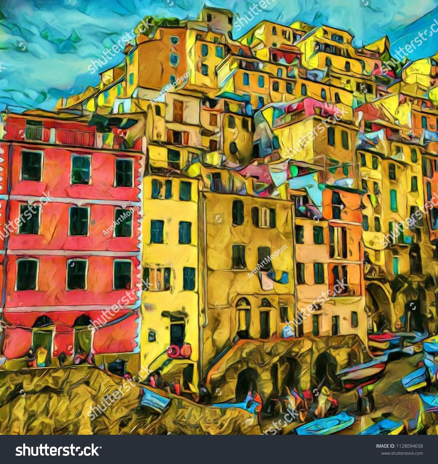Amazing Colorful Houses Italy Frieze