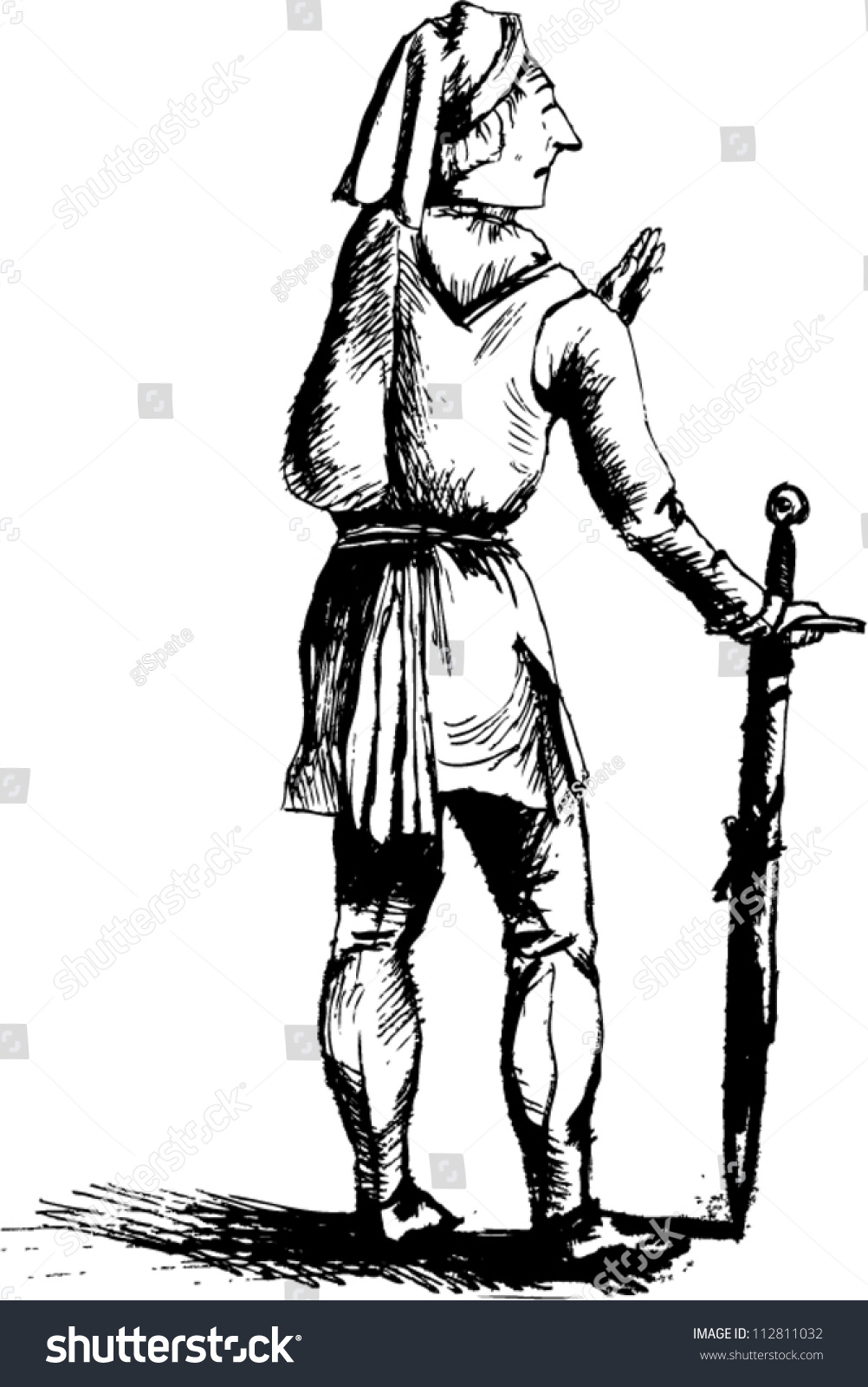 Old Man In Medieval Clothes With Sword Stock Vector ...