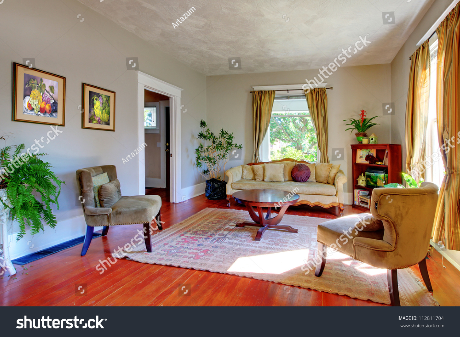 Living Room With Yellow Curtains, Grey Walls And Antique Sofas.