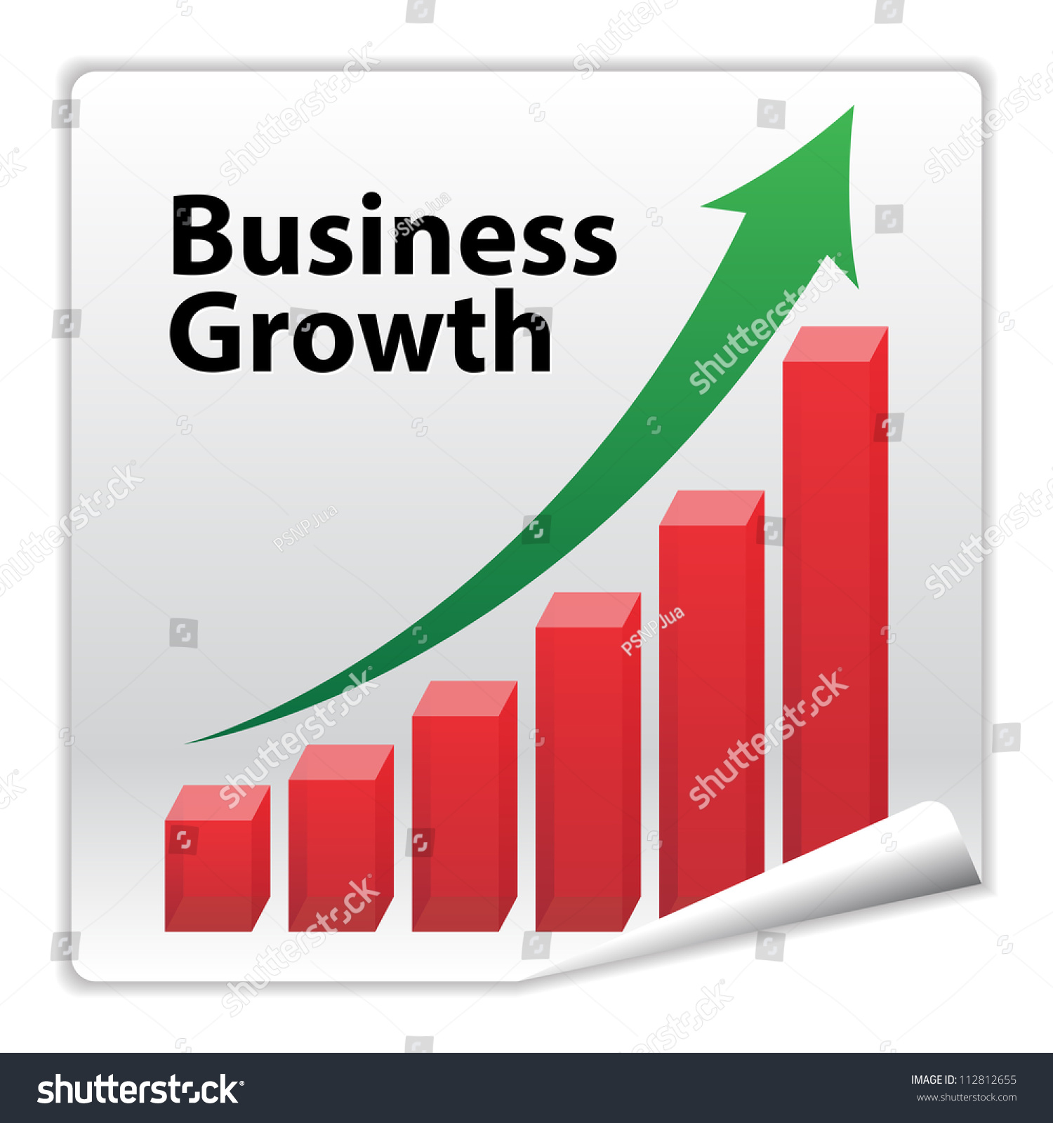 Business Growth Paper Icon Concept With Red Graph And ...