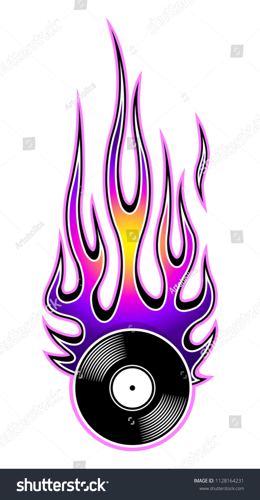 photo regarding Printable Flame referred to as Printable Vector Example Traditional Retro Vinyl Inventory