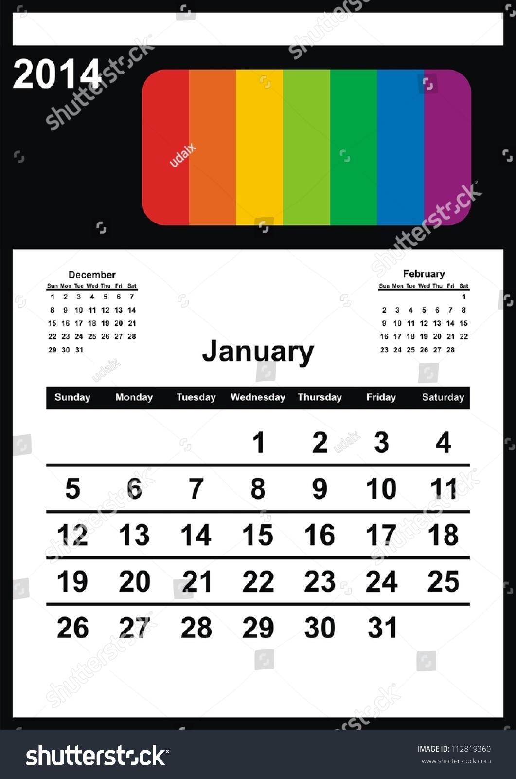 Calendar Design Size : Vector calendar design january a stock