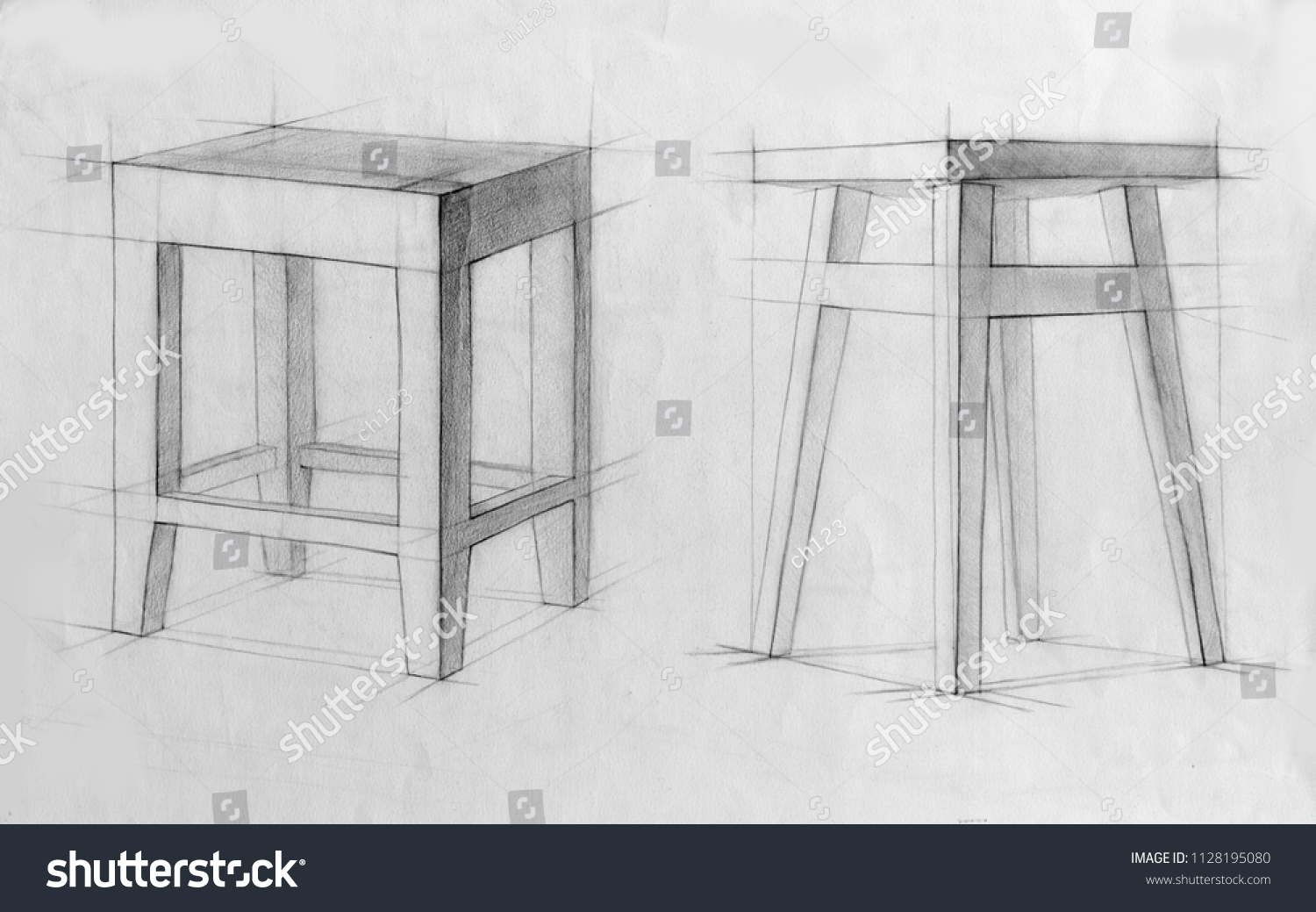 Still life pencil drawing sketch stock illustration 1128195080