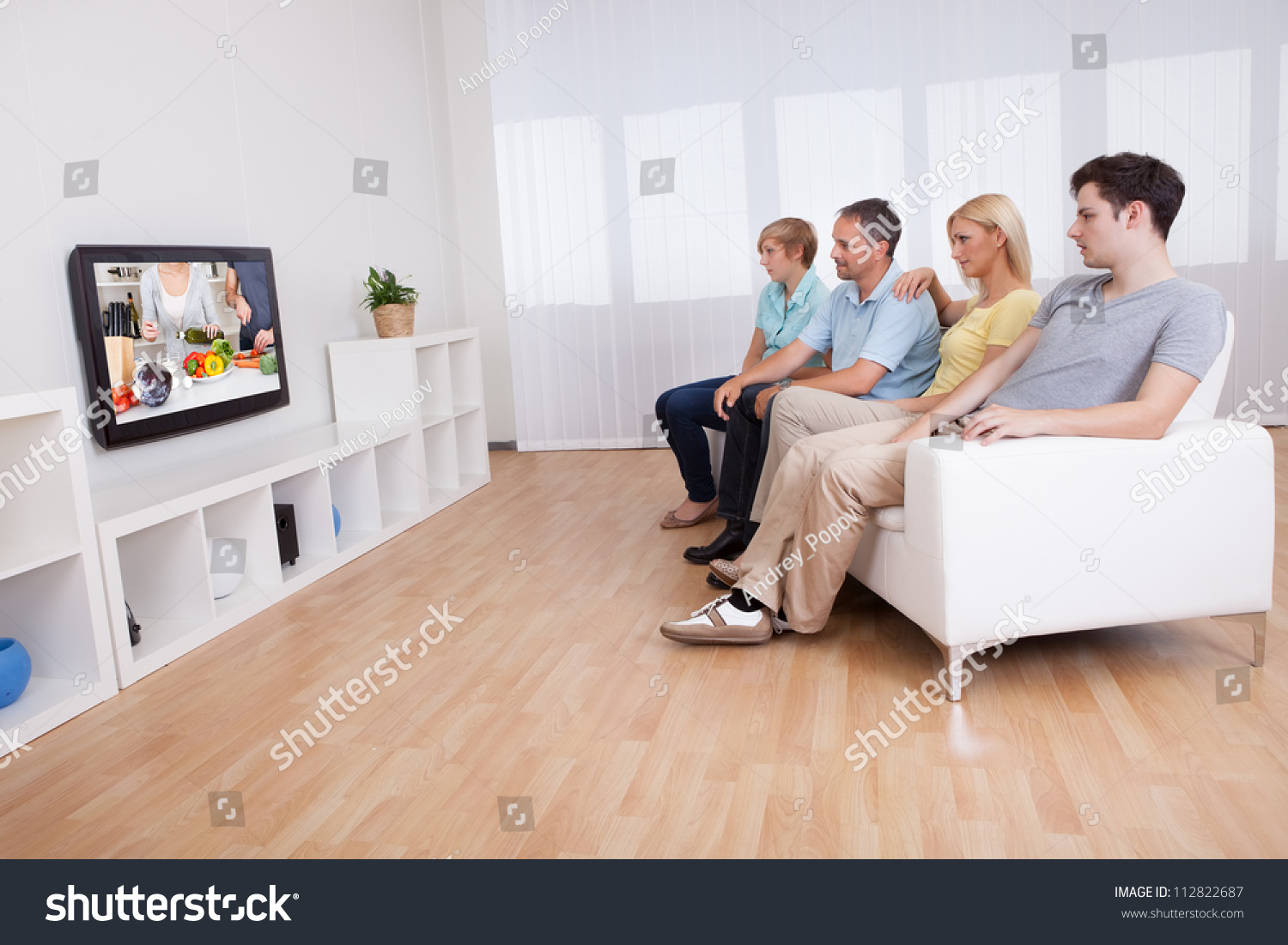 Teenage Living Room Family Teenage Children Sitting Together On Stock Photo 112822687