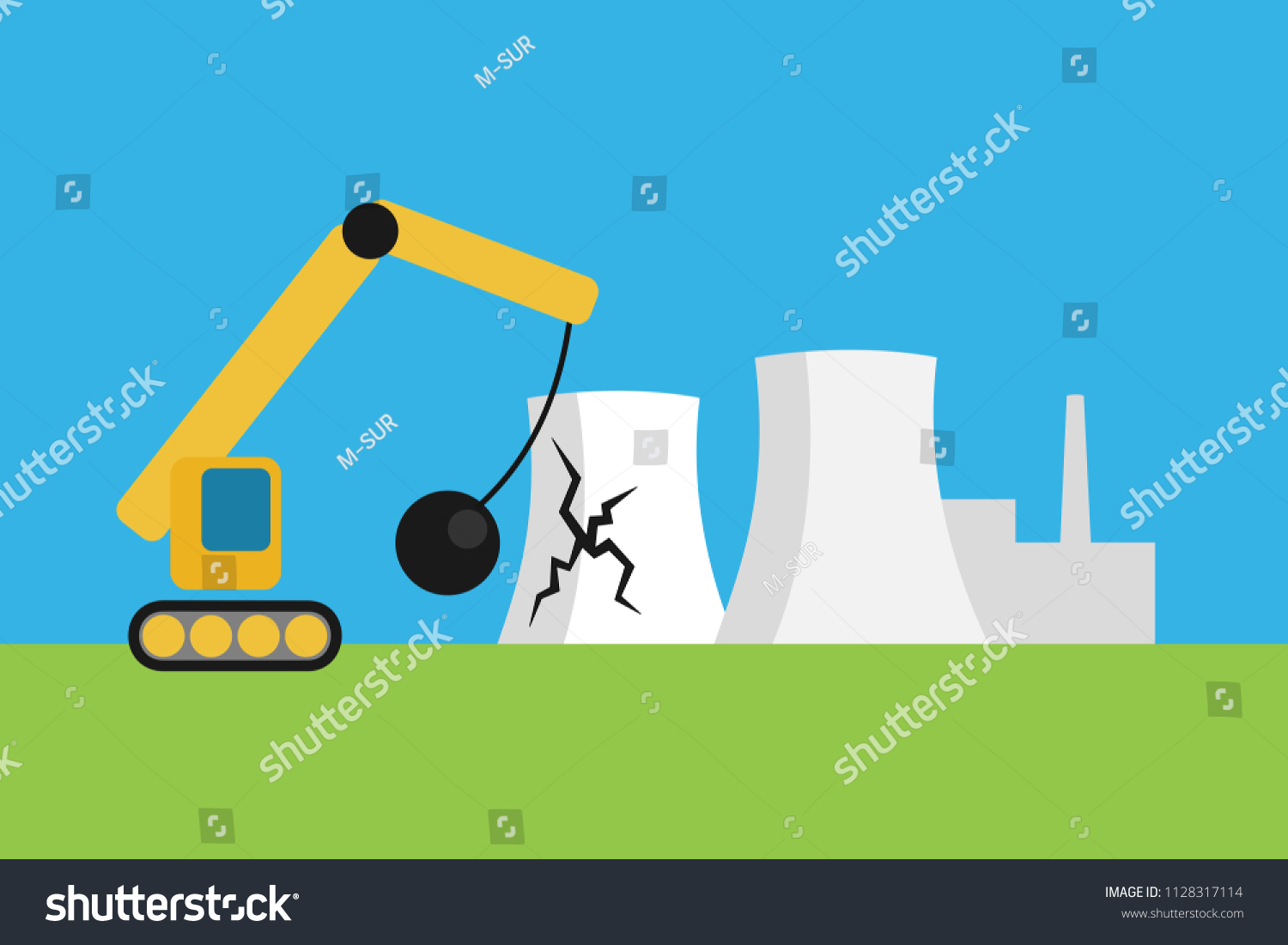 Nuclear Power Plant Phase Out Powerhouse Stock Vector Royalty Free Energy Diagram For Atomic Is Discontinued Closed Abandoned