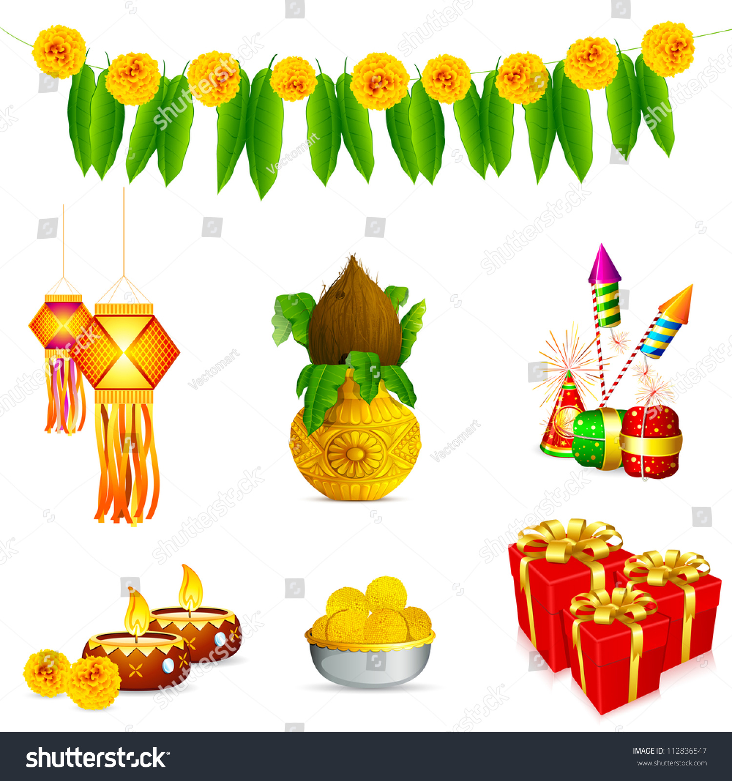 Indian Festival Decoration Illustration Holy Object Decoration Indian Festival Stock Vector