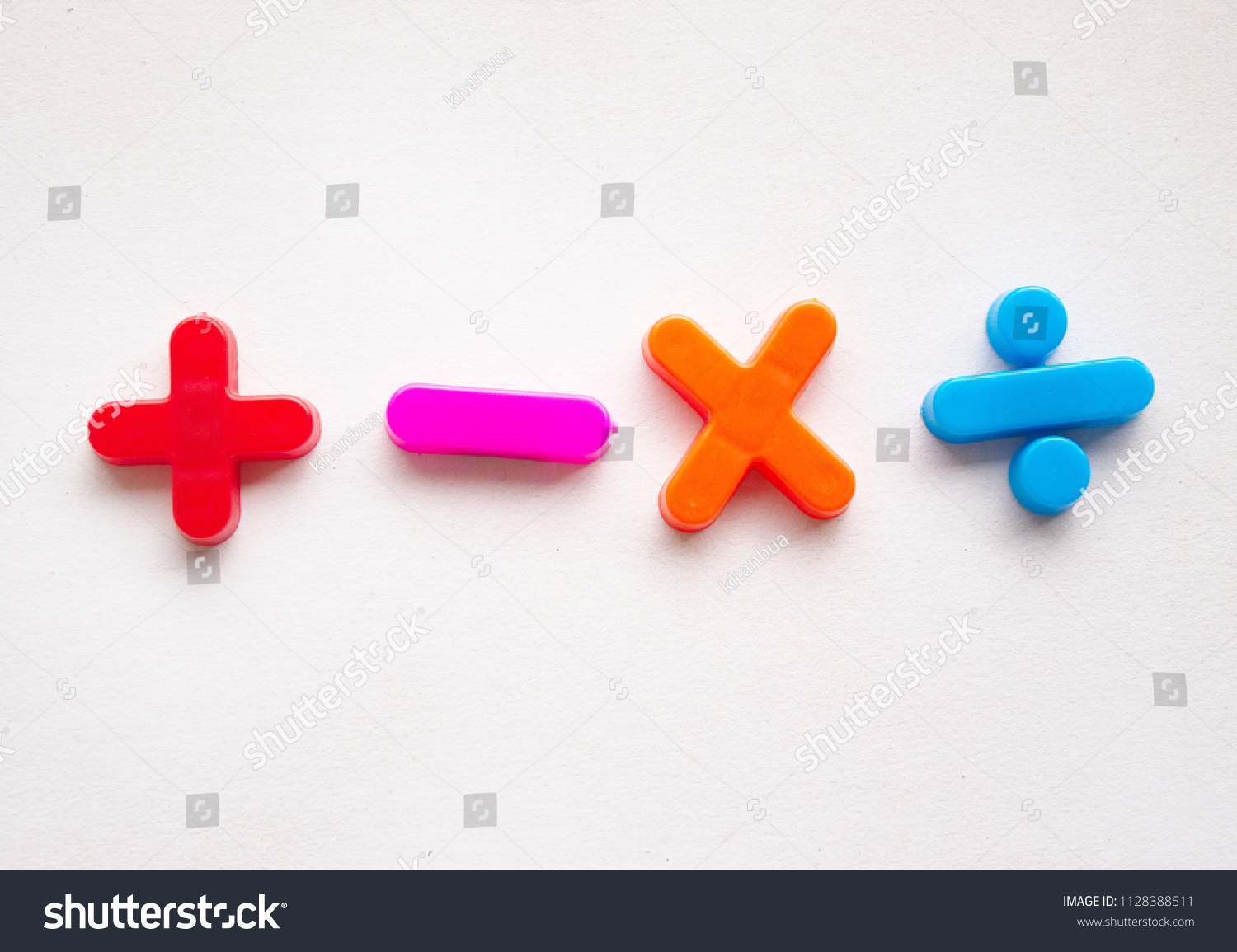 Colorful Basic Mathematical Symbols Made Plastic Stock Photo Edit