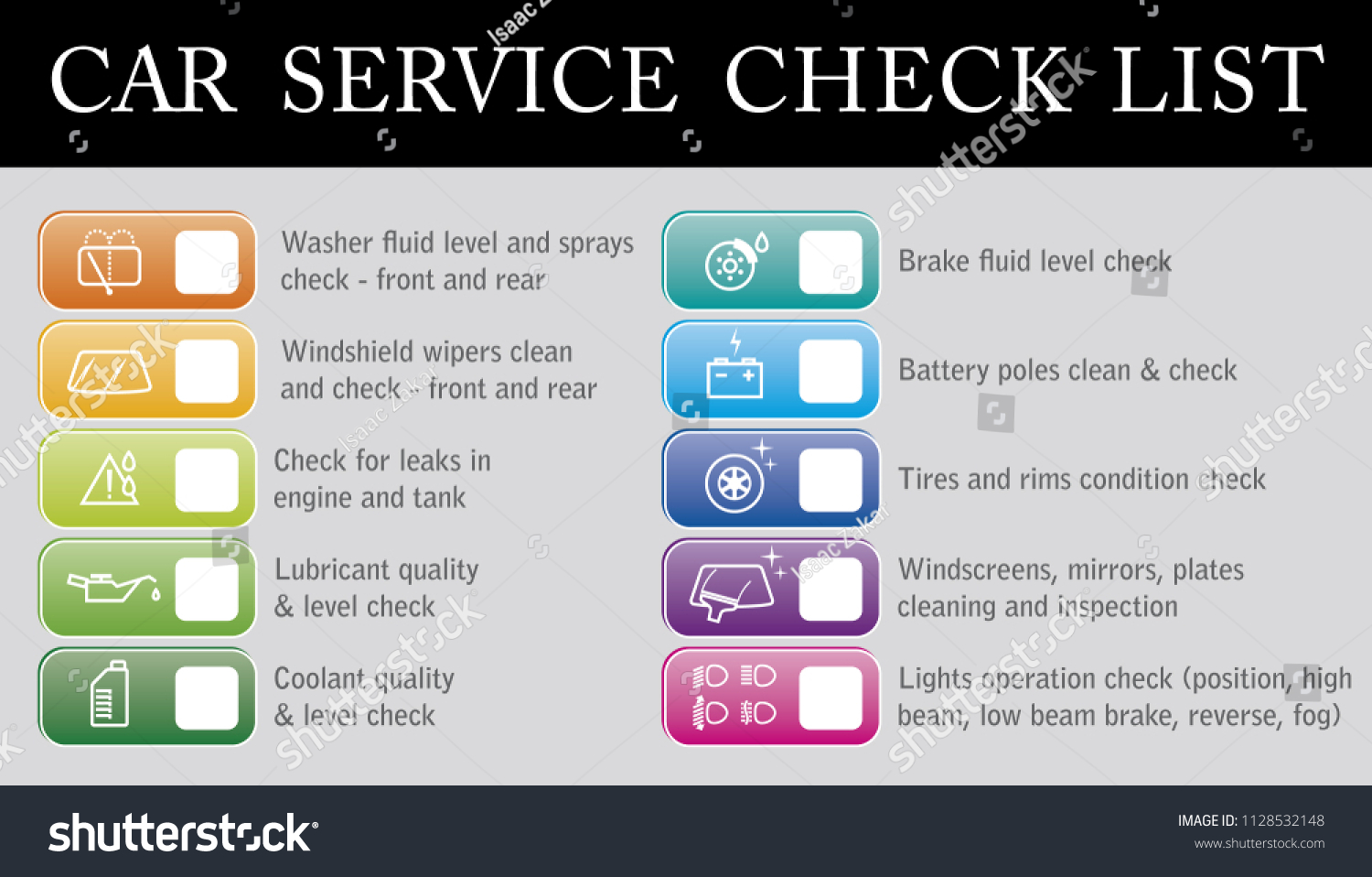 Vector Color Coded Car Service Check Stock Royalty Free Engine Coolant List With Icons And Boxes For Gas Station
