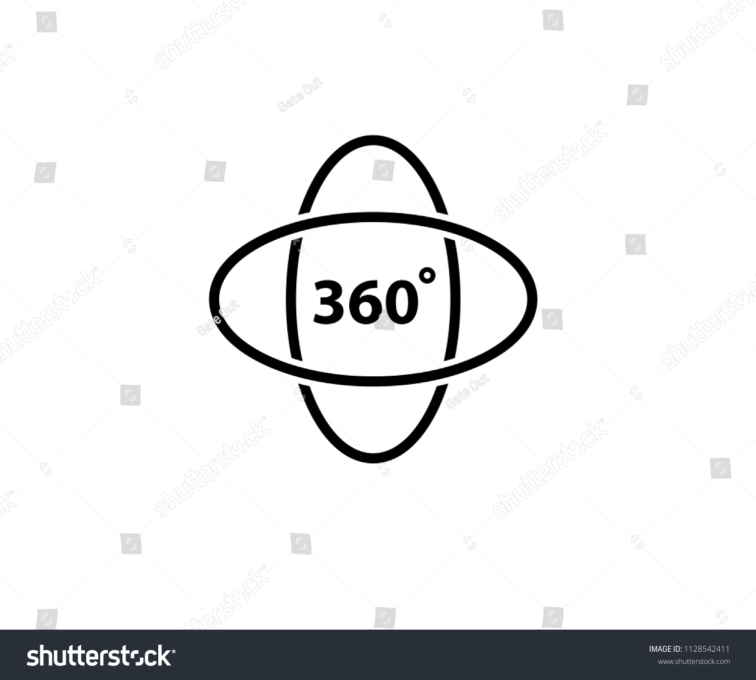 360 Degree Icon Vector Stock Vector Royalty Free