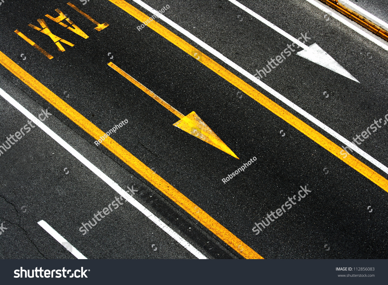City Asphalt Road Floor With White And Yellow Lines ...