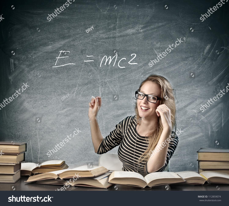 Beautiful Blonde Girl Teaching Physics Stock Photo 112859074 ...