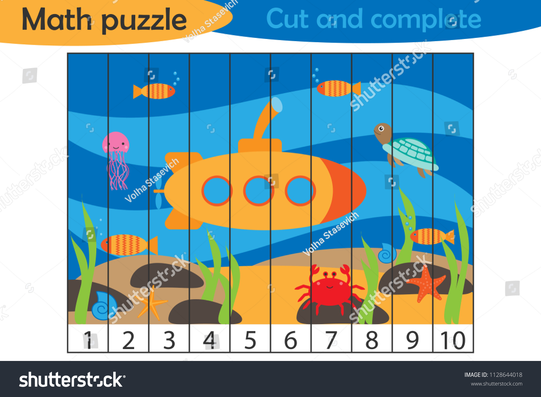 Math Puzzle Sea World Underwater Cartoon Stock Vector (Royalty Free ...