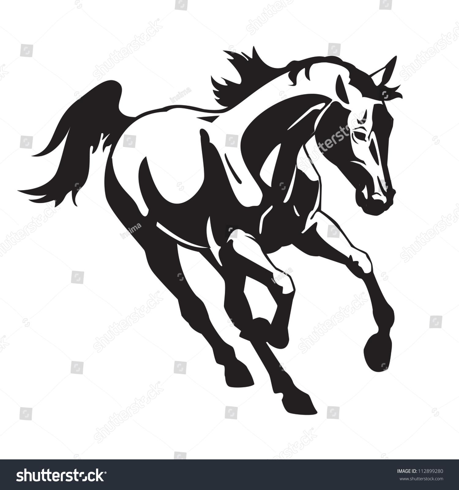 Running Horse Black White Vector Image Stock Vector ...