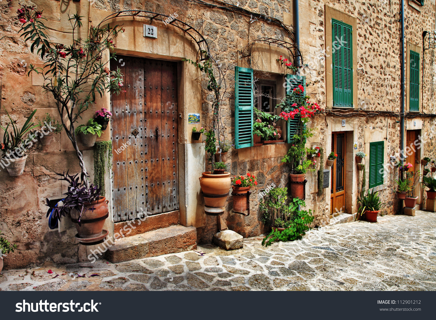 Charming Streets Of Old Mediterranean Towns Stock Photo 112901212 : Shutterstock